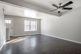 Large Living Room with Ceiling Fan